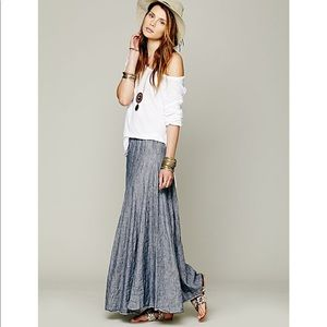 Free People Worker Chambray Maxi Skirt